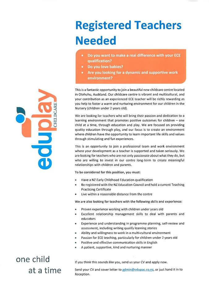 Teachers Needed in Otahuhu at EduPlay
